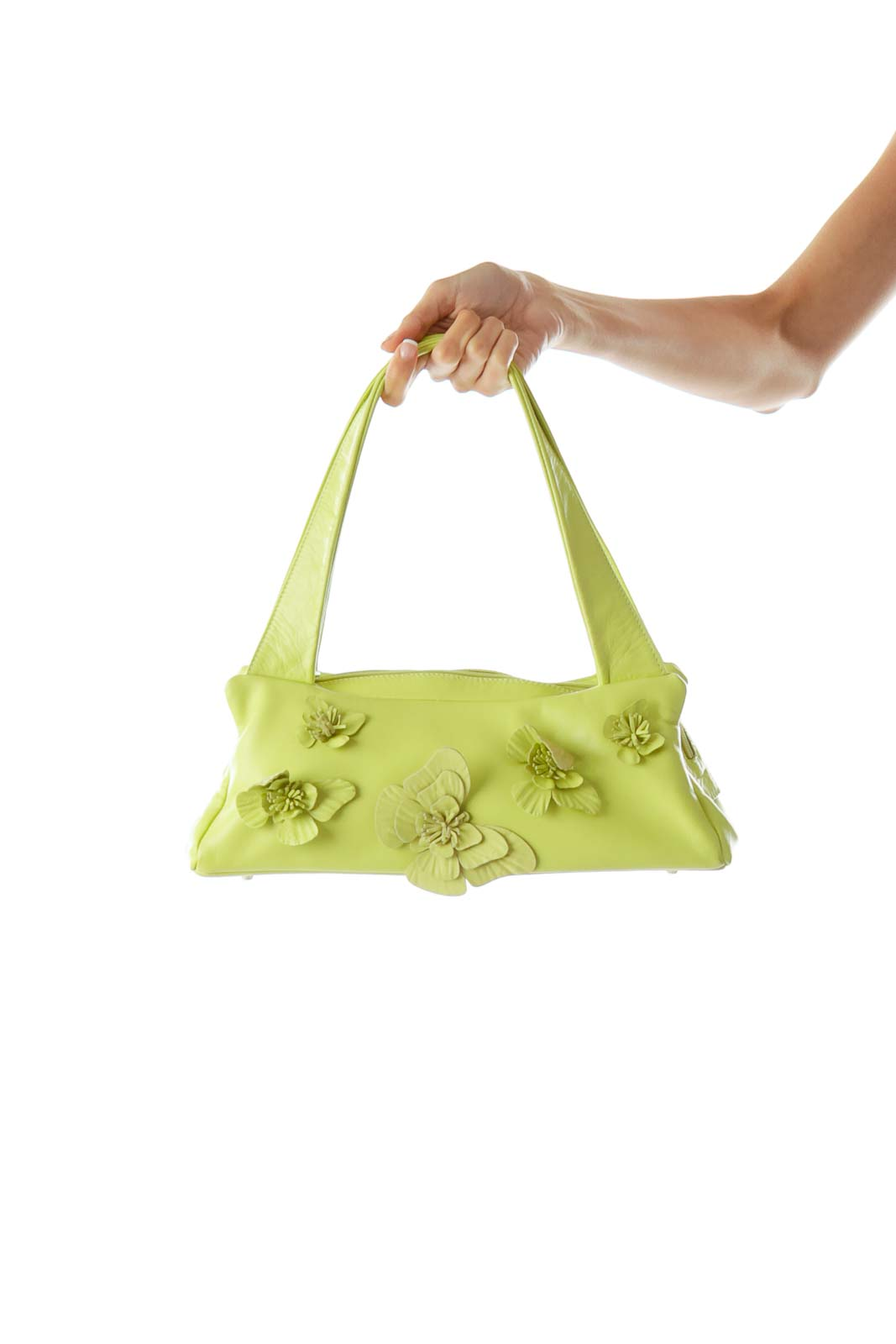 Green Butterfly Applique Small Shoulder Bag Front