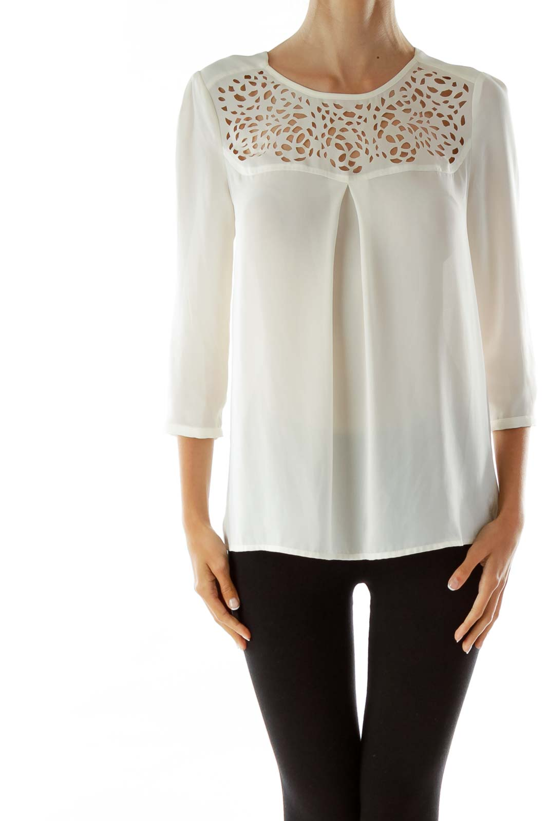 White Lacey Sheer Blouse Front
