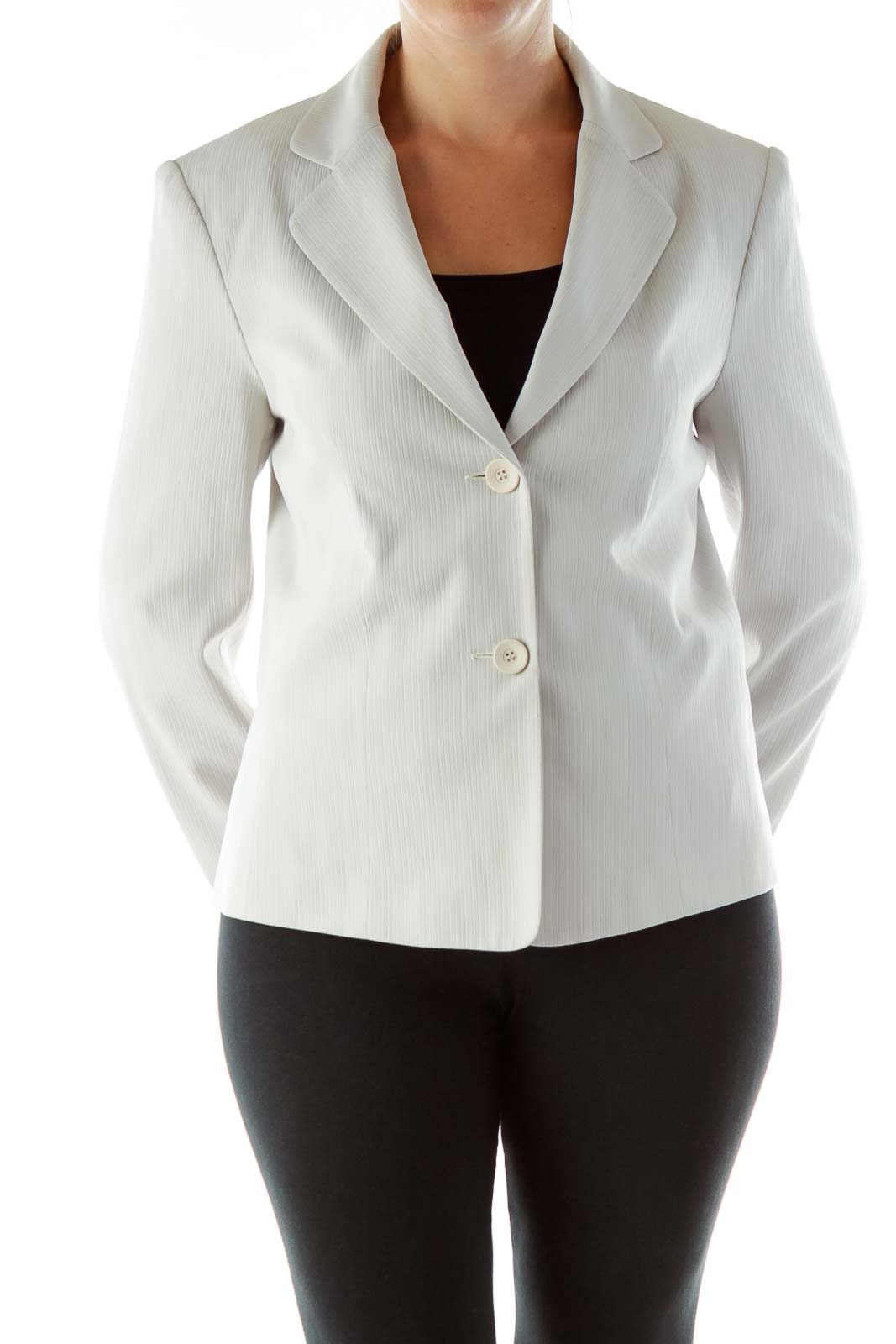 Gray Embossed Stripes Blazer Suit Front