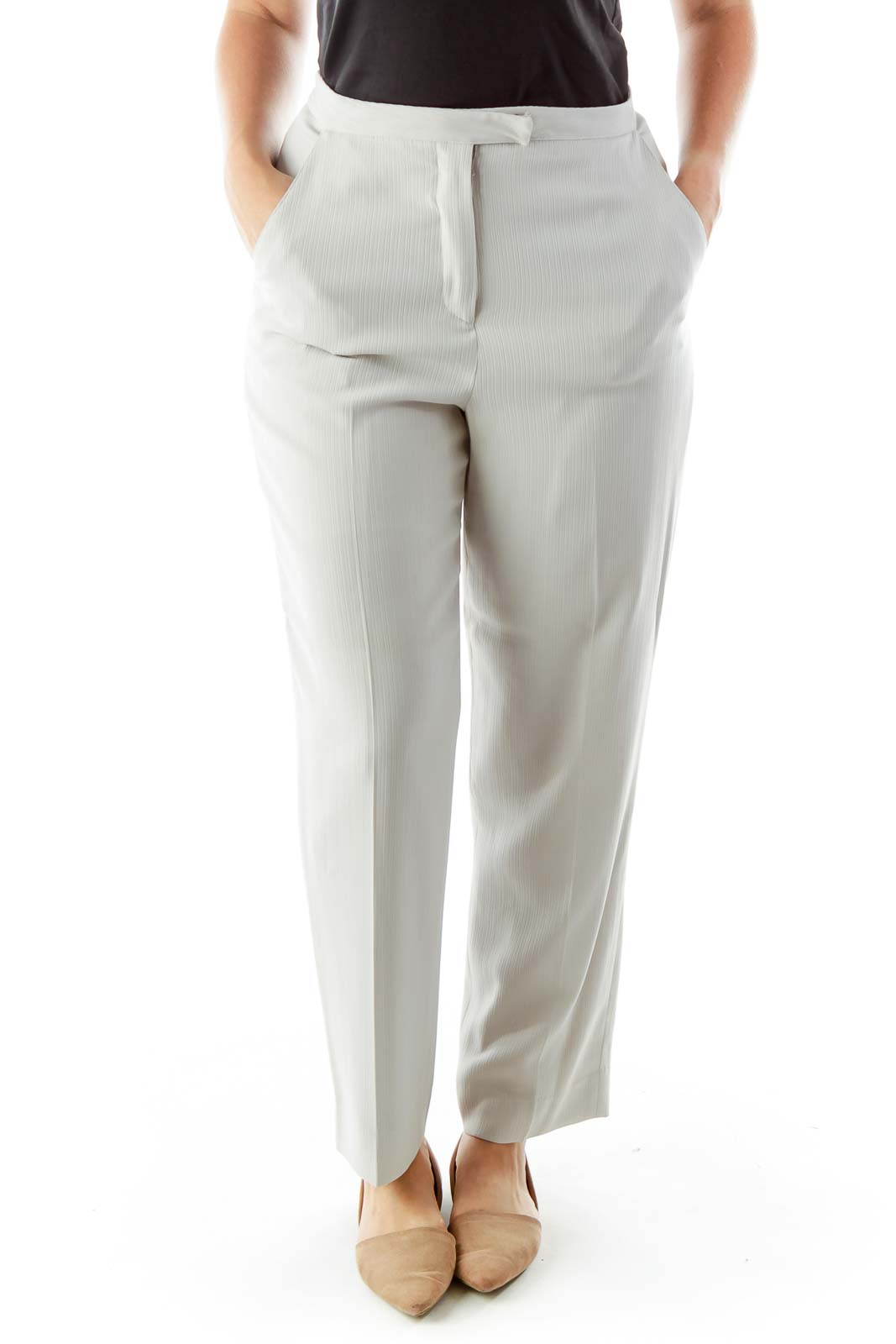 Gray Embossed Stripes Pants Suit Front