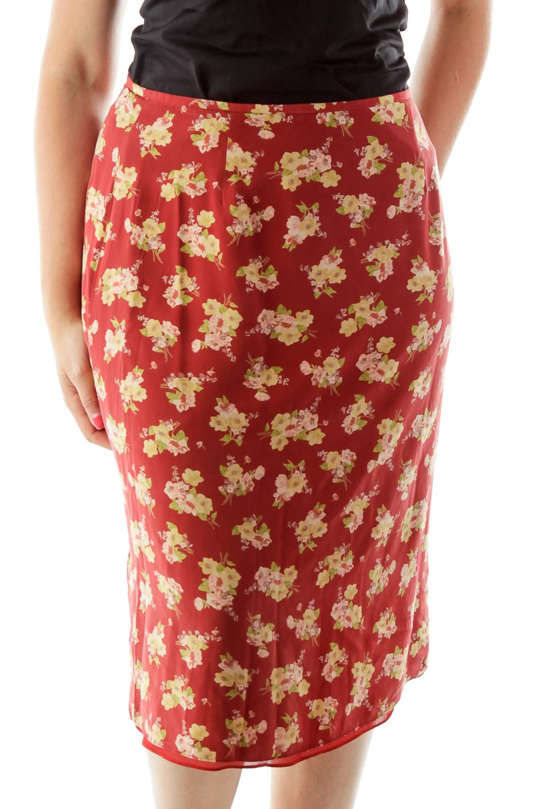 Red Yellow Flower Print A-Line Skirt Front