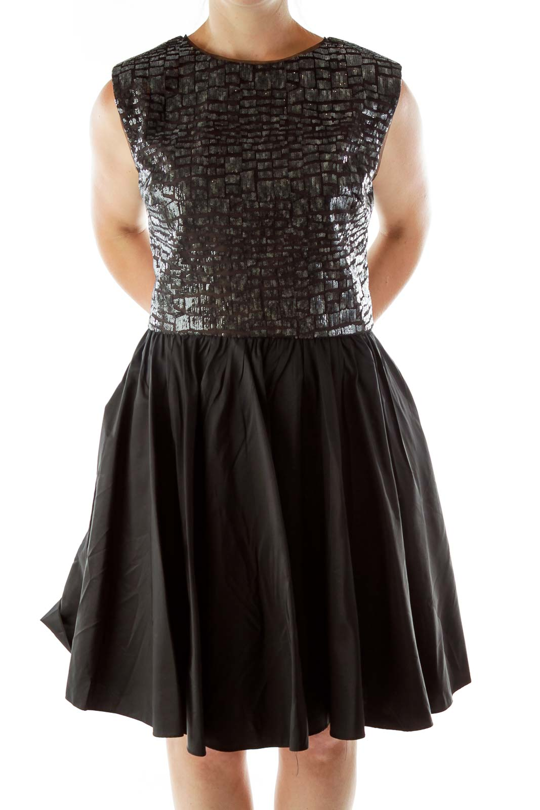 Black Sequined Open Back Evening Dress Front