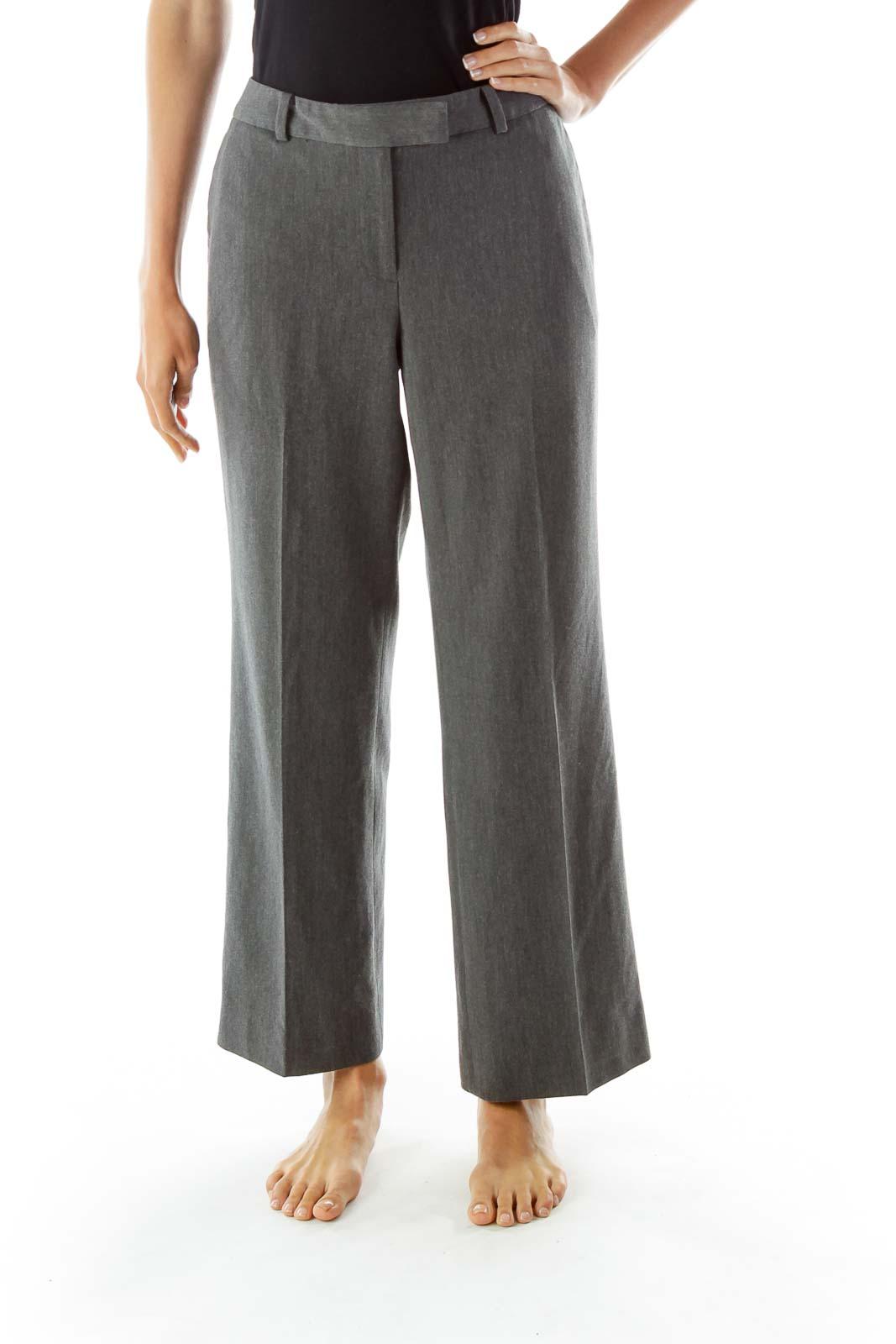 Gray Straight-Leg Slacks Front