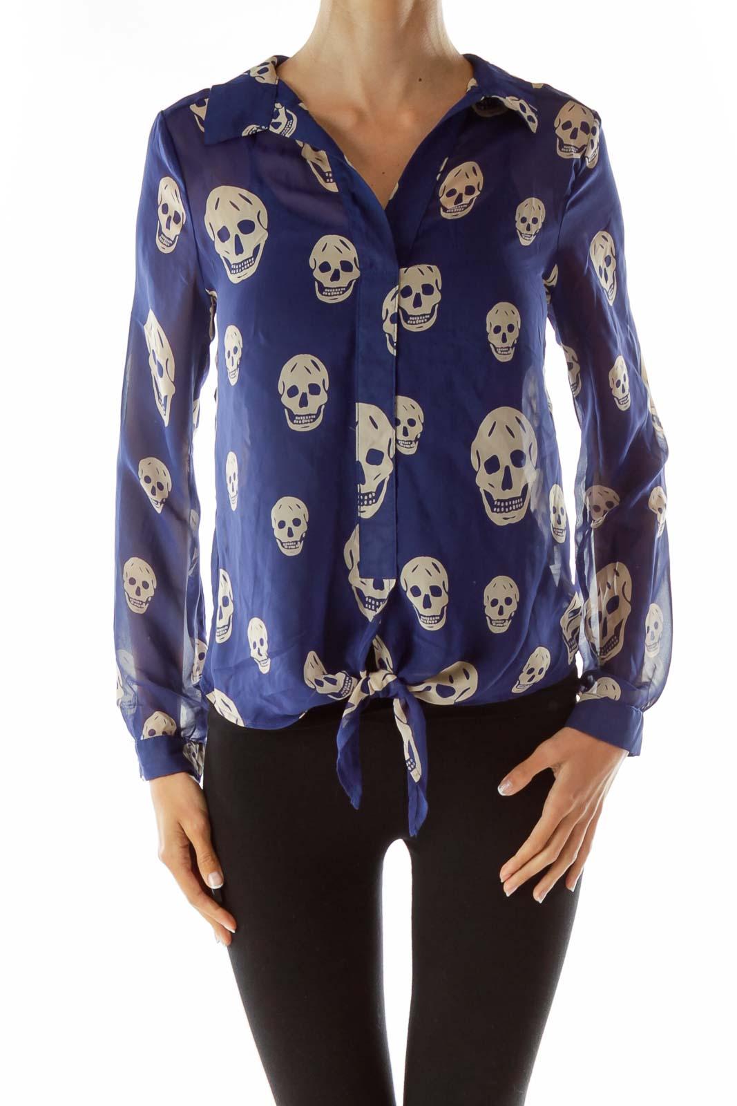 Blue Beige Skull Print Blouse Front
