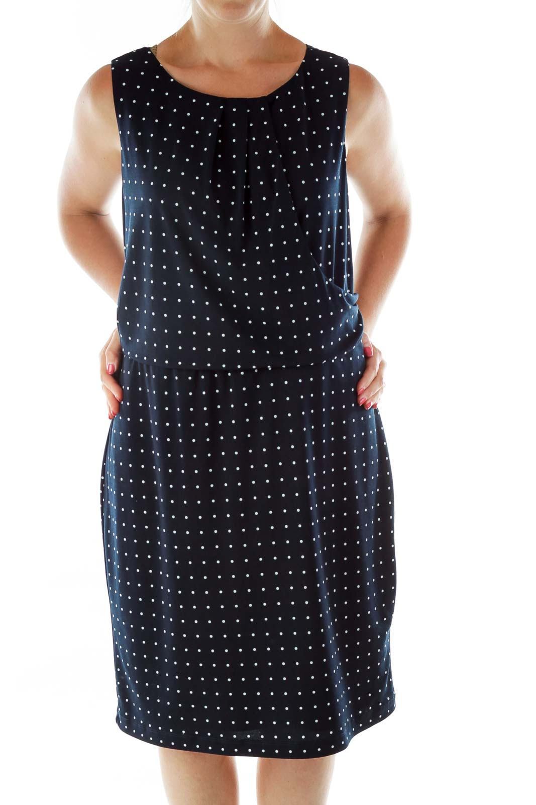 Navy White Asymmetric Polka-Dot Dress Front