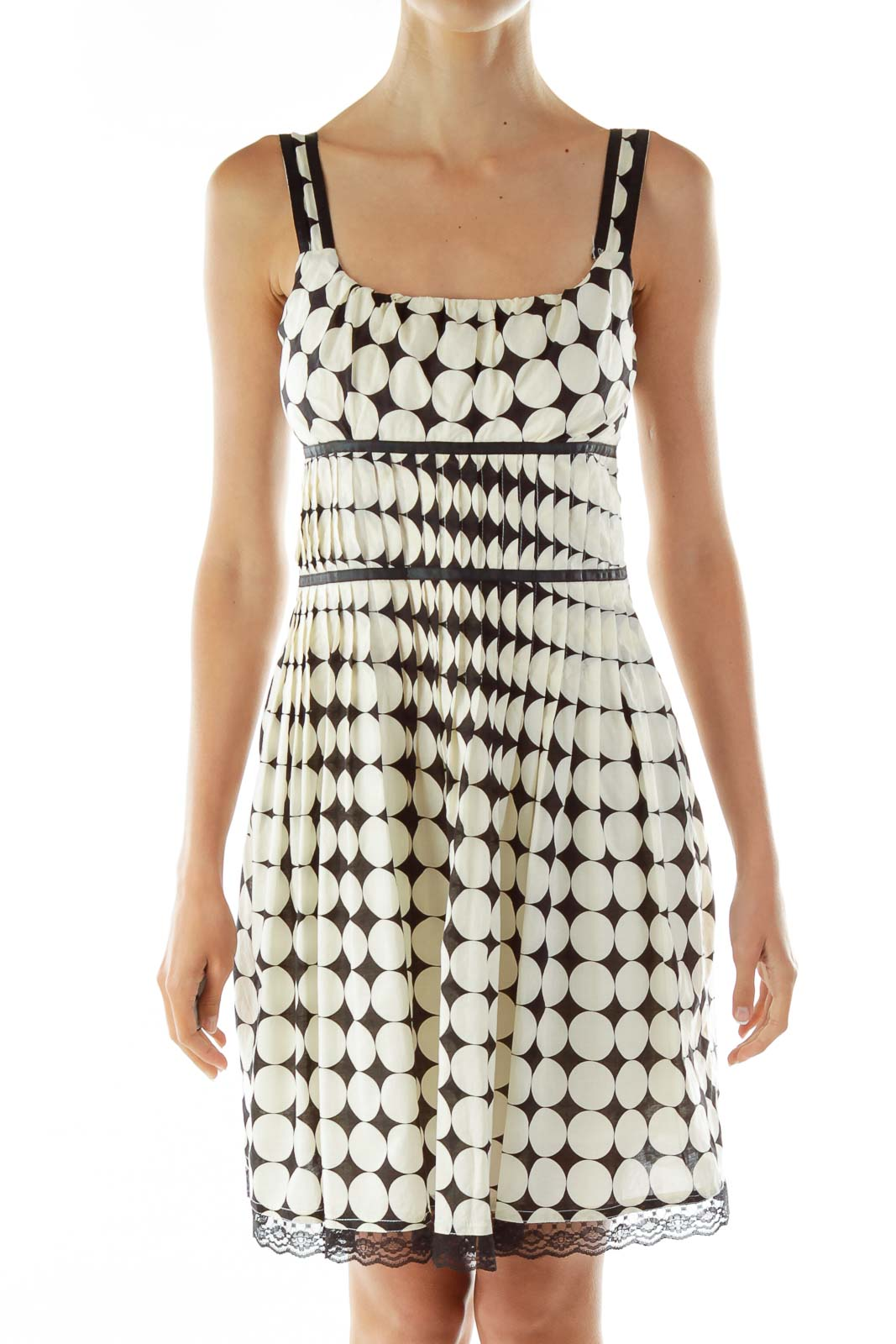 Black White Circle Print Day Dress Front
