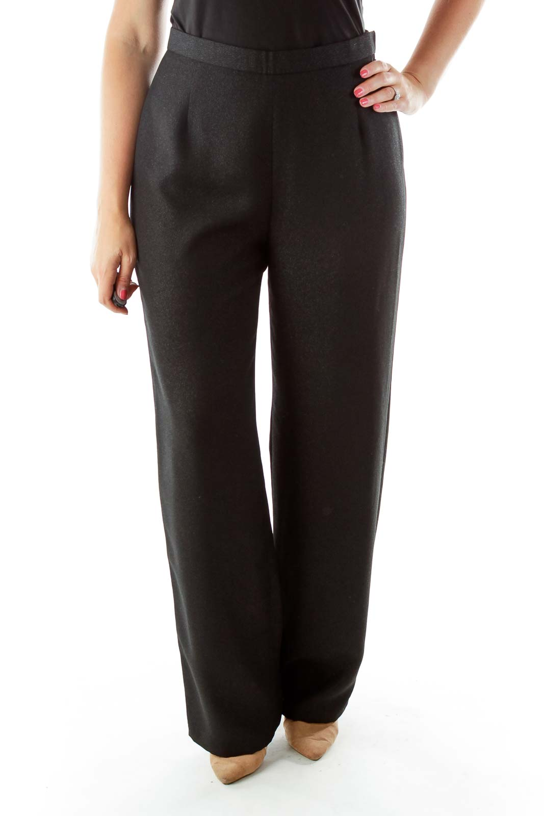 Black Wide Leg Shimmer Slacks Front
