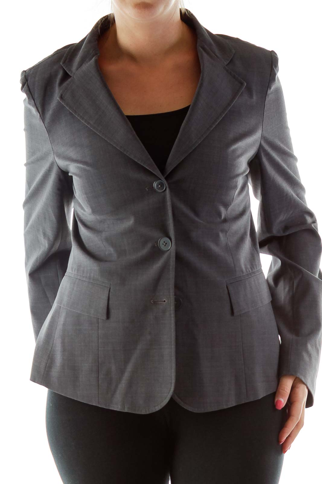 Gray Single-Breasted Blazer Front