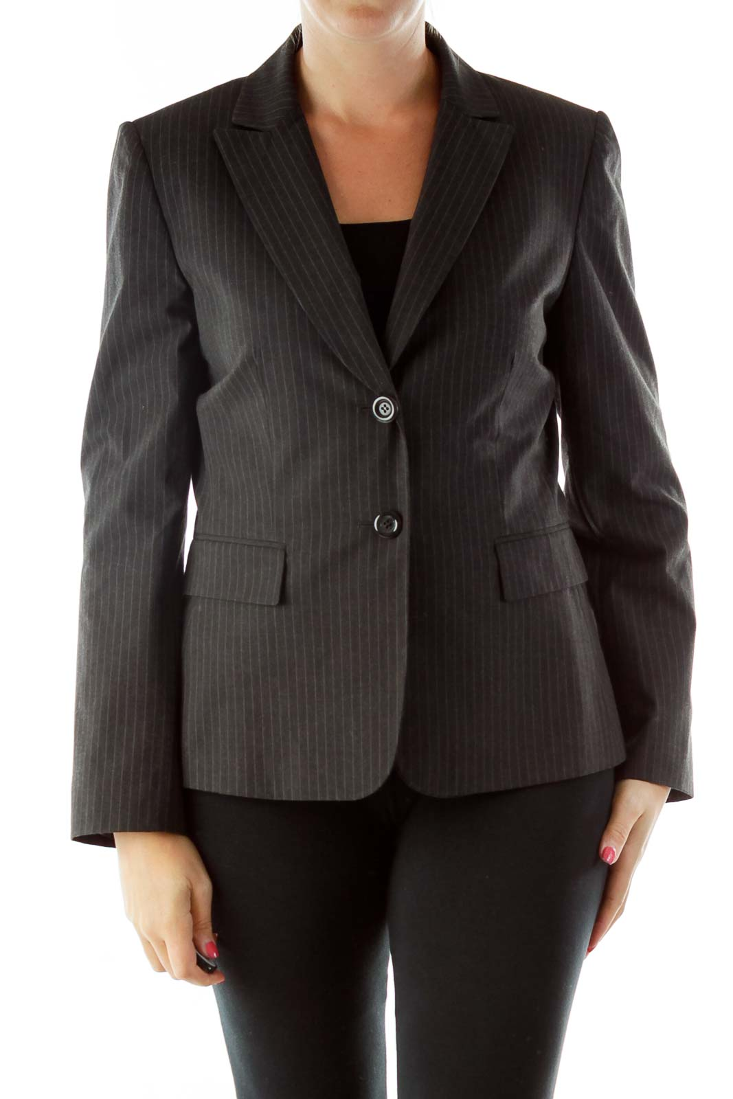 Gray Pinstripe Blazer Front