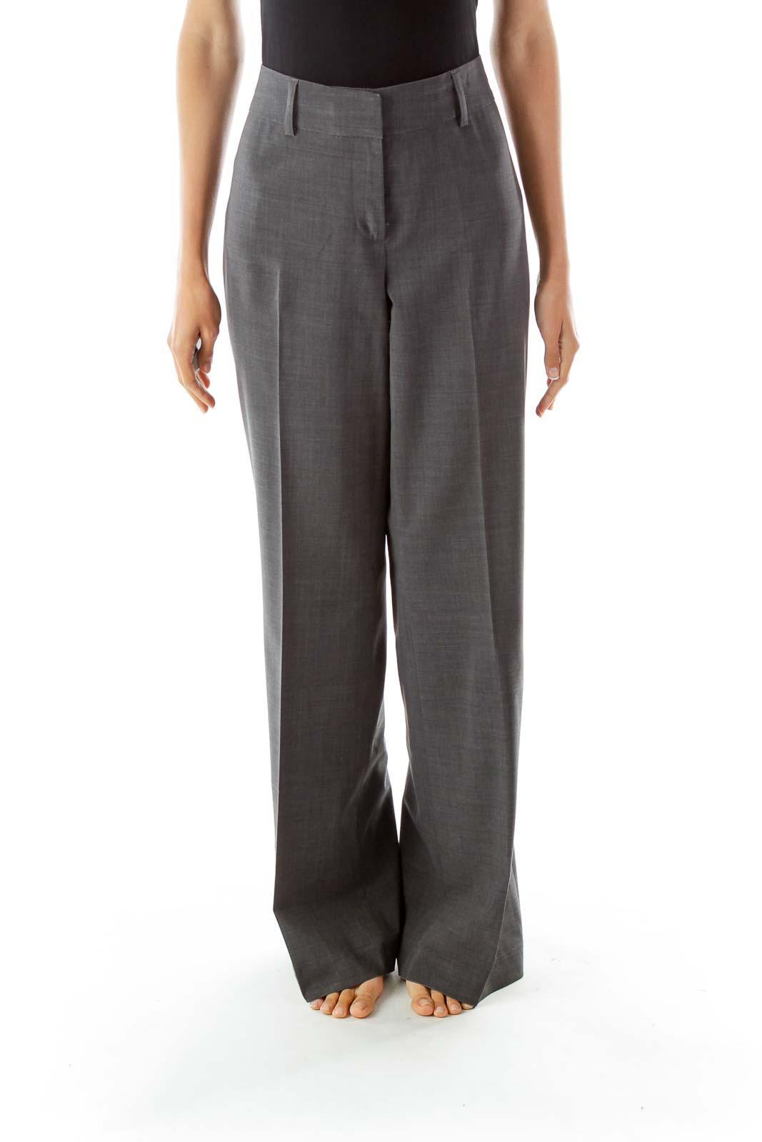 Gray Wide Leg Pants Front