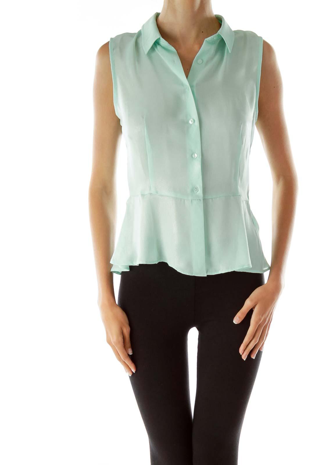 Mint Green Shimmer Sleeveless Blouse Front