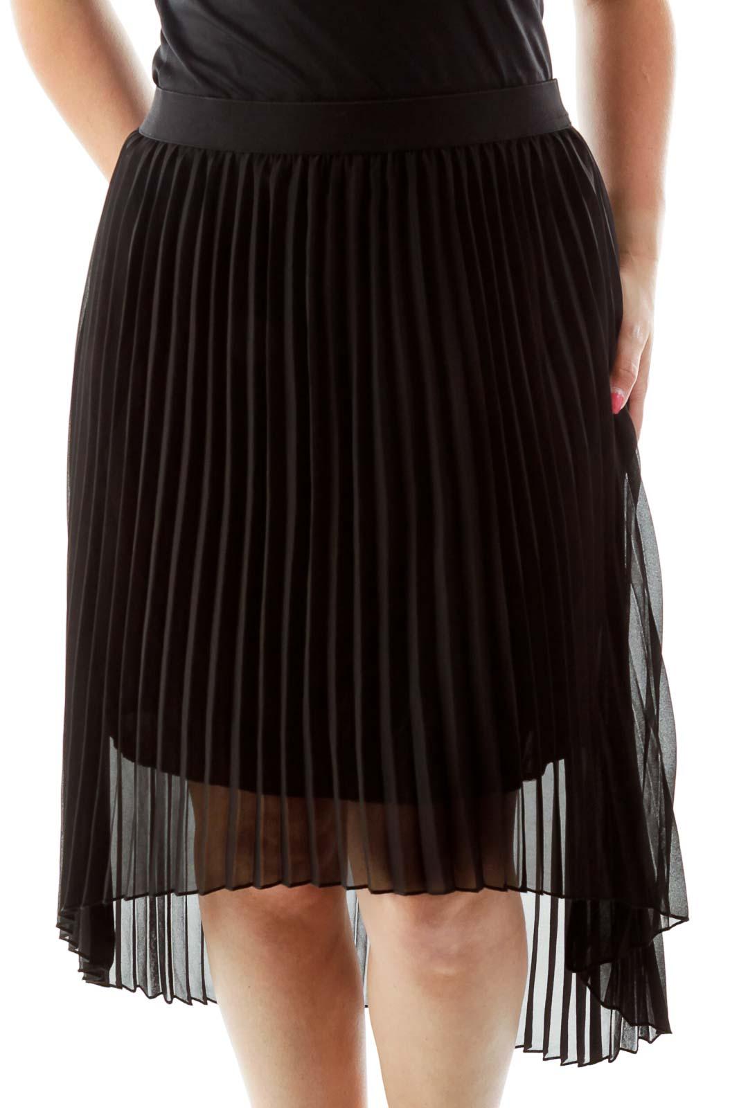 Black Pleated Midi Skirt Front
