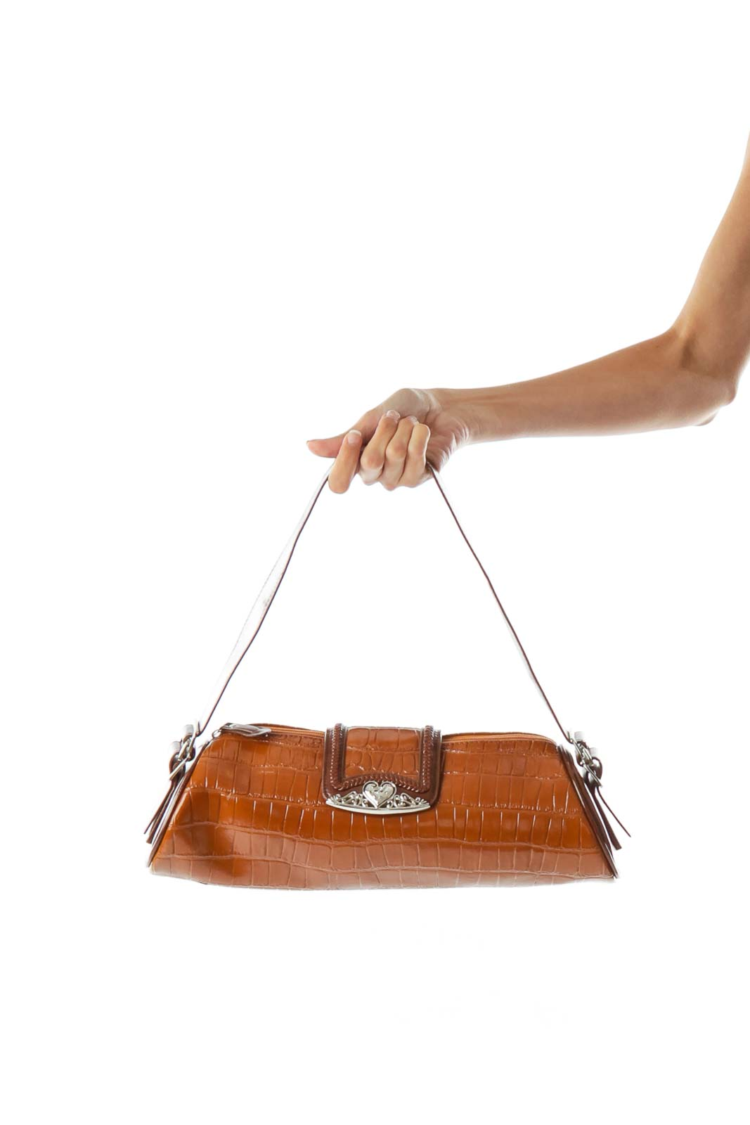 Brown Alligator Faux-Leather Shoulder Bag Front