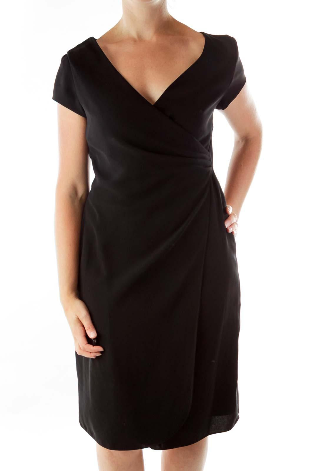 Black V-neck Fitted Dress Front