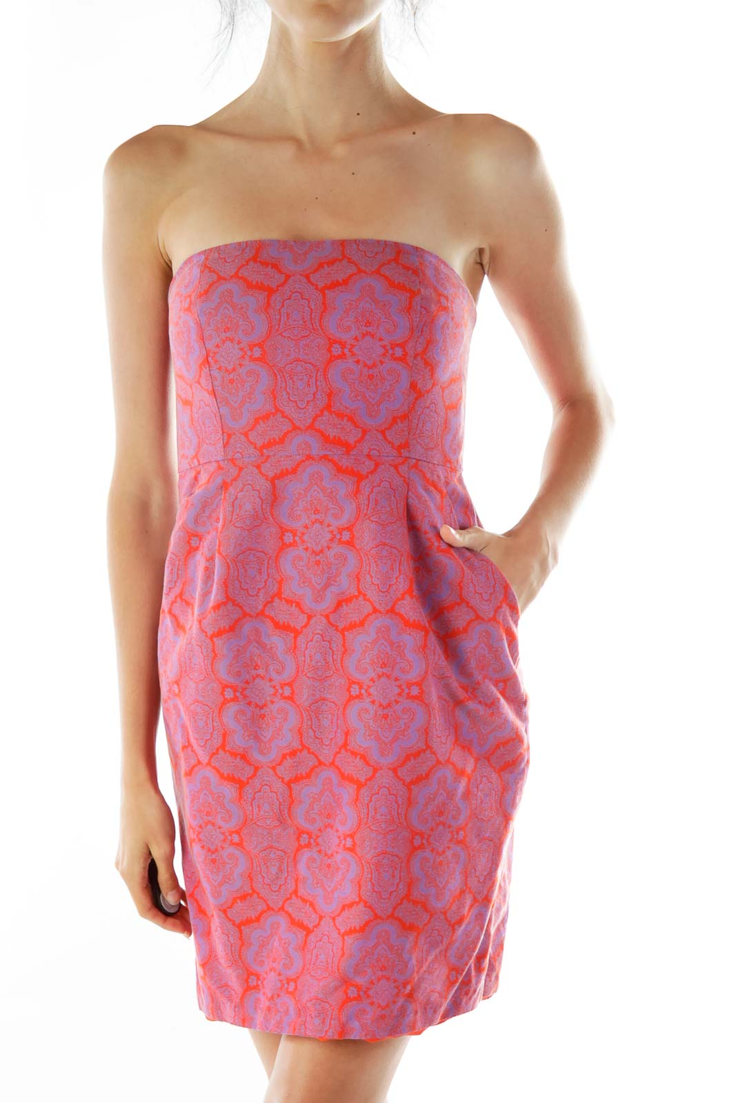 Red Purple Print Strapless Dress Front