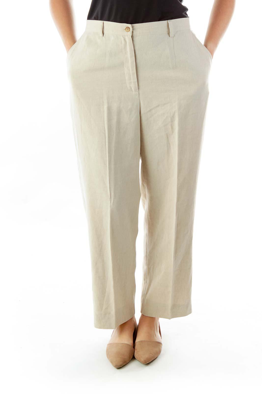 Linen Straight Leg Slacks Front