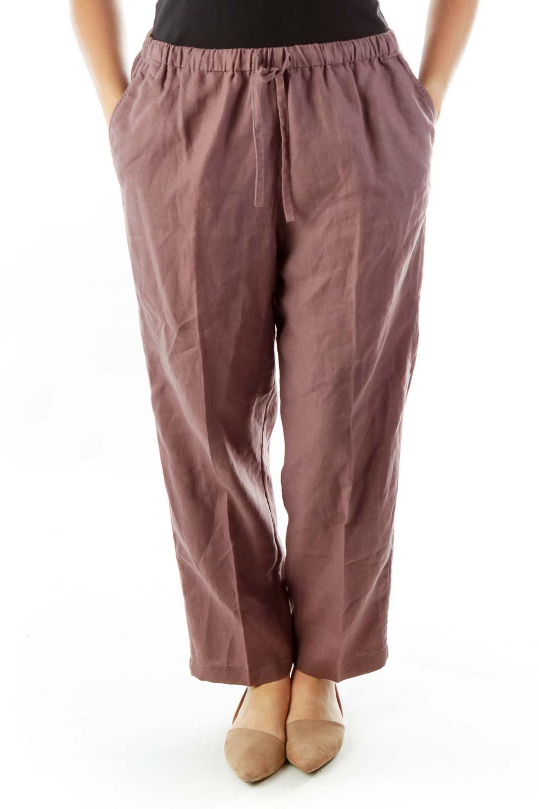 Purple Linen Track Pants Front