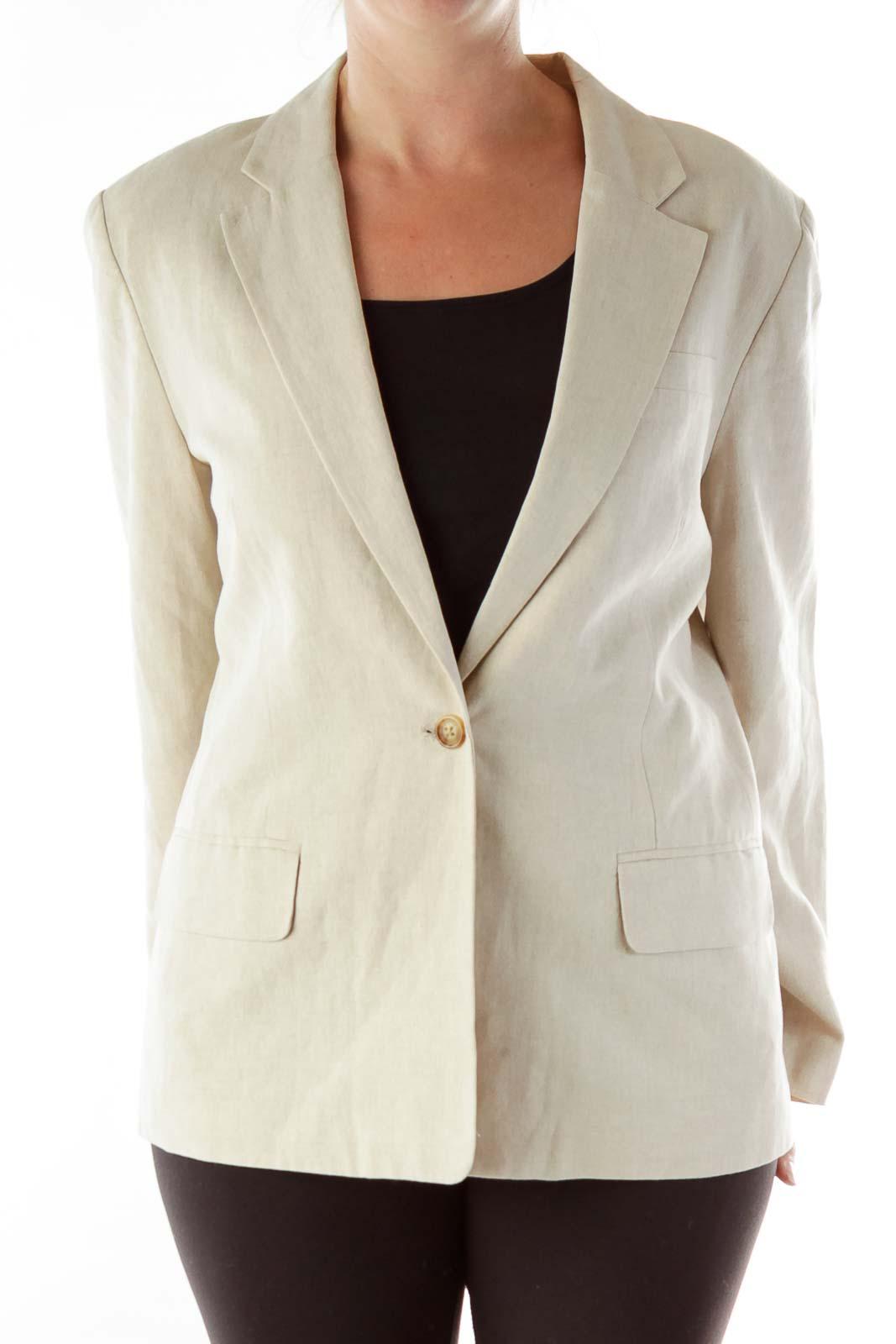 Beige Single Button Linen Blazer Front