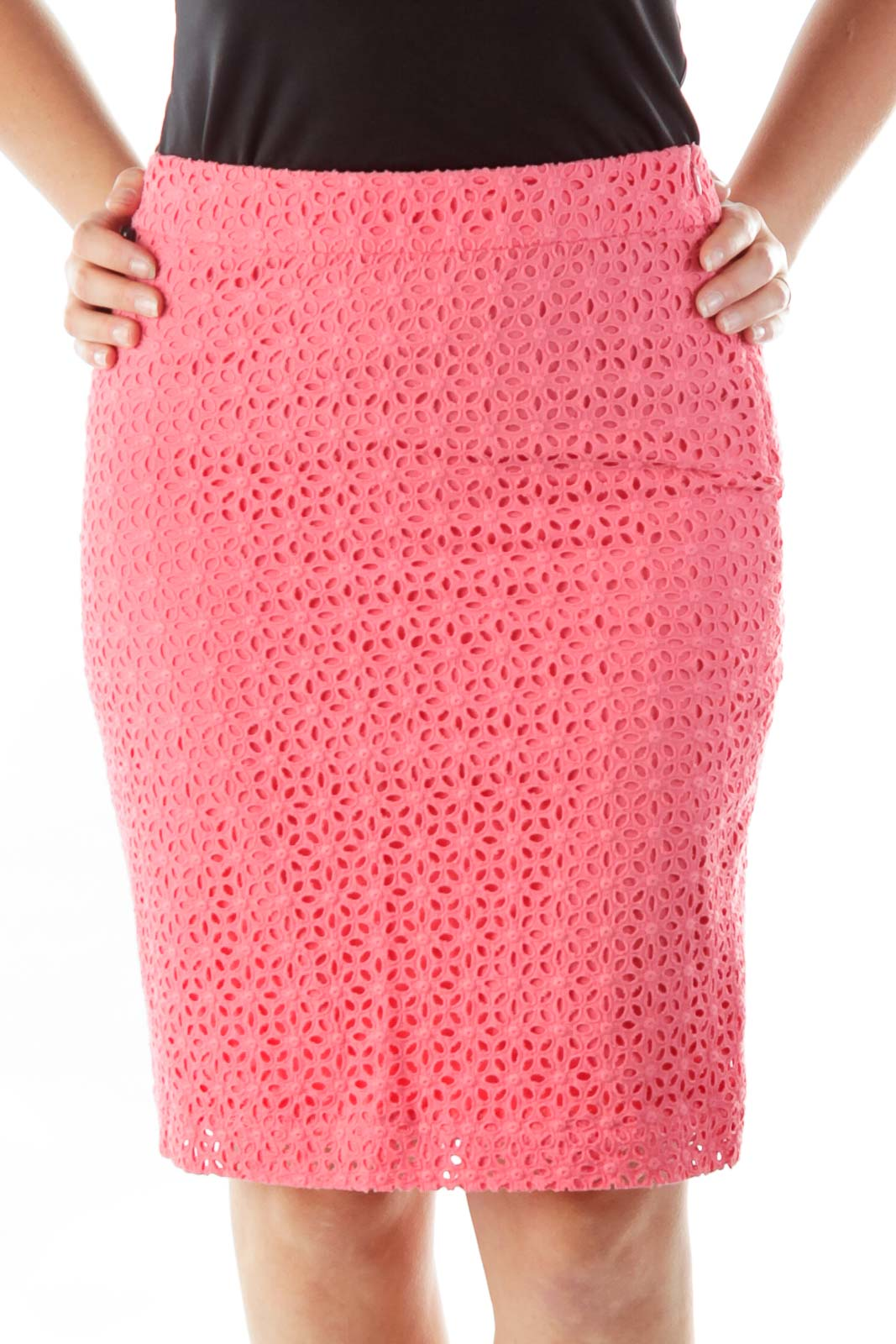 Pink Crocheted Pencil Skirt Front