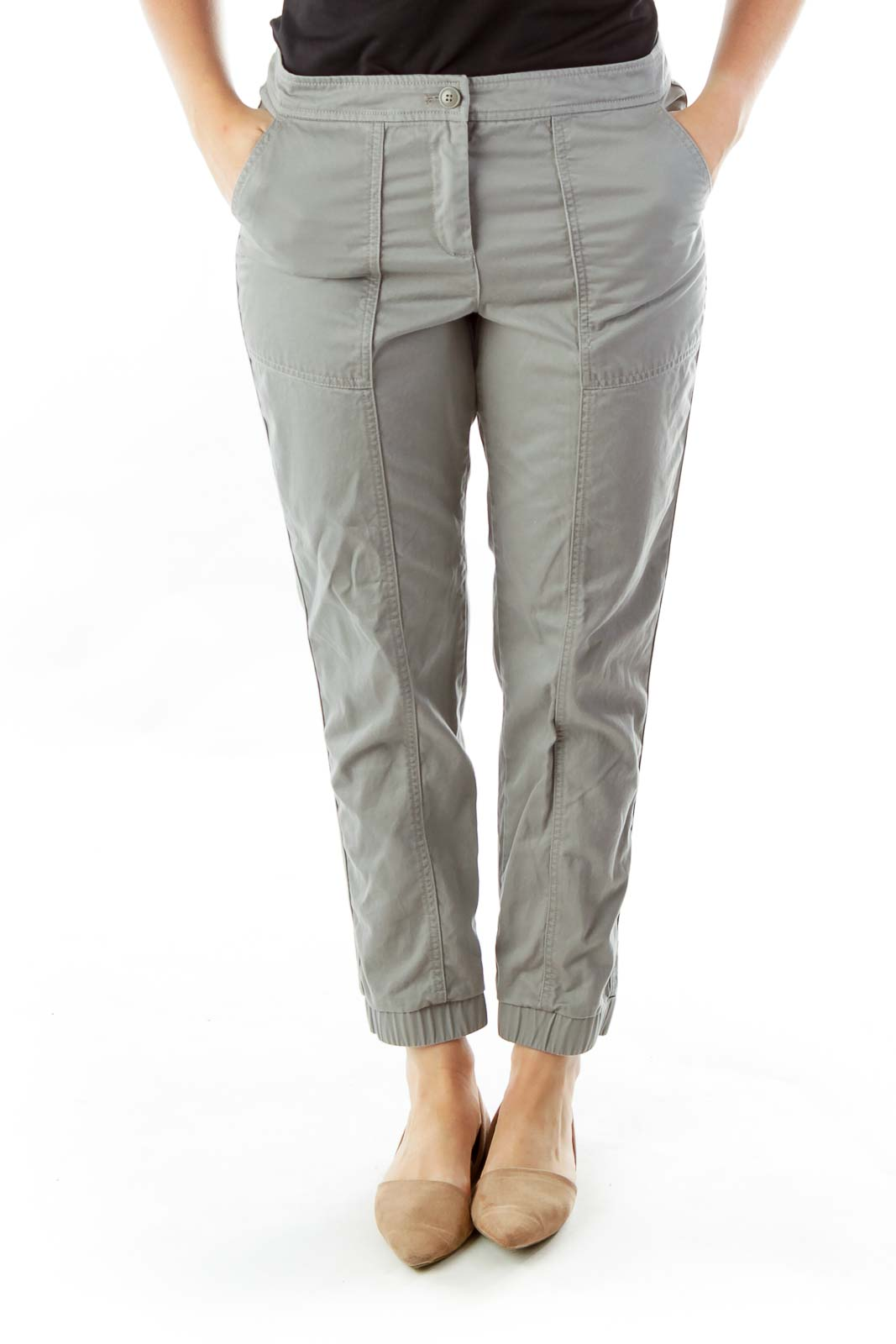 Gray Tapered Cargo Pants Front