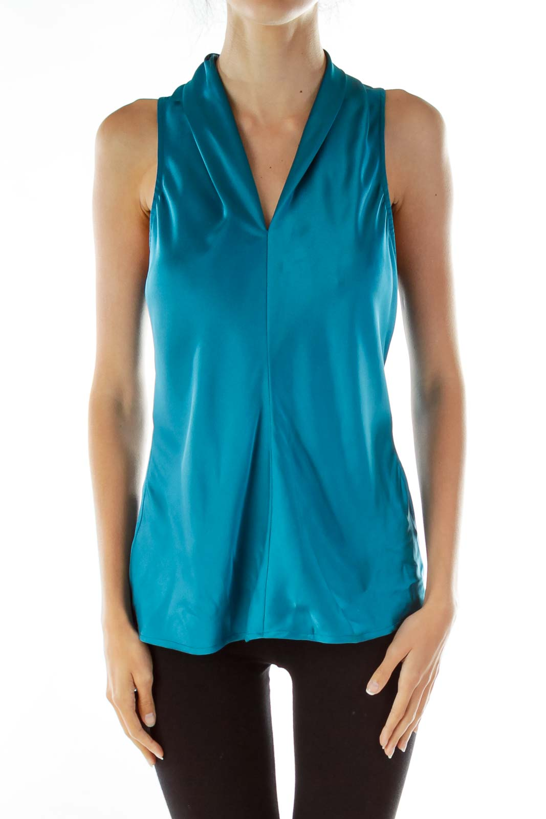 Teal Satin Sleeveless Blouse Front