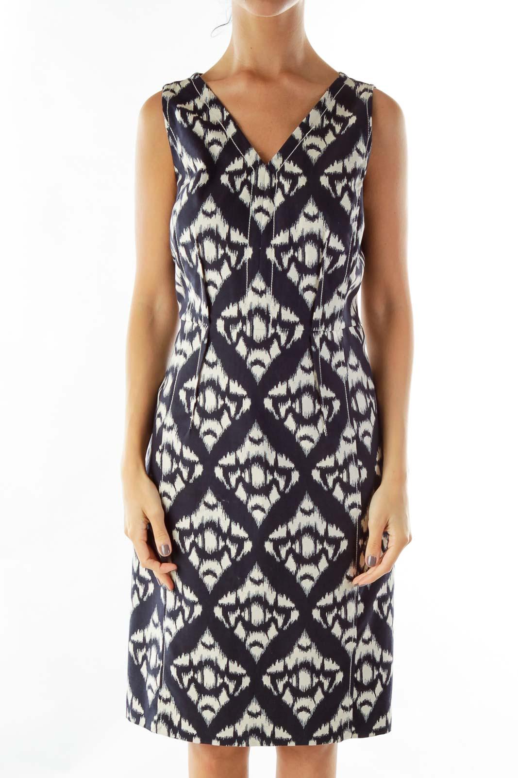 Black White Woven Sleeveless Work Dress Front