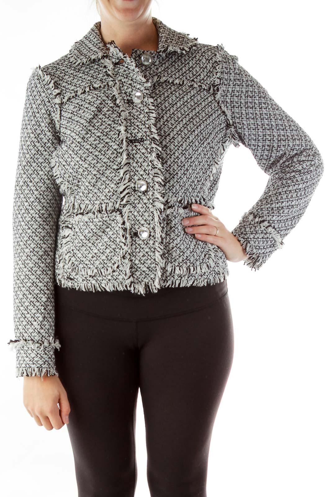 Black White Tweed Jacket Front