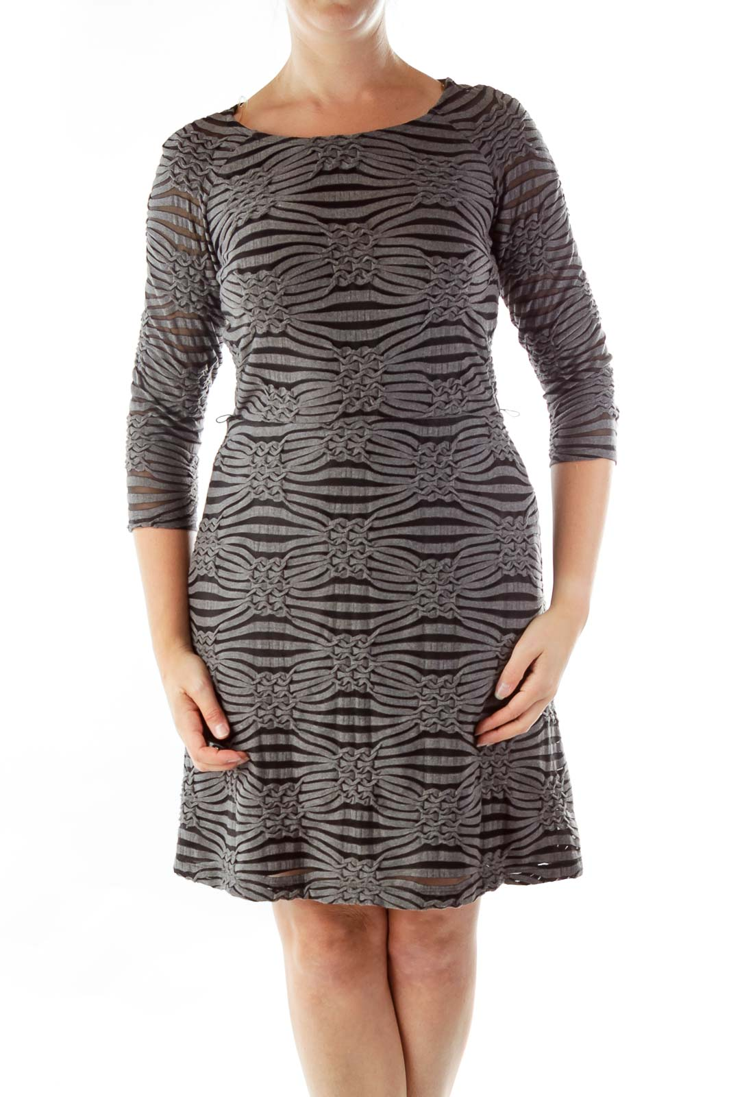 Gray Black Embossed A-Line Dress Front