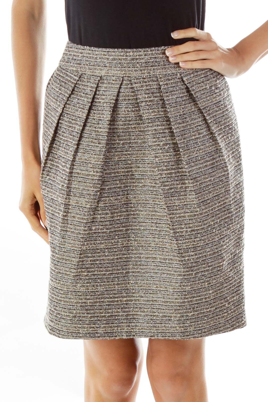 Brown Shimmer Tweed Pencil Skirt Front
