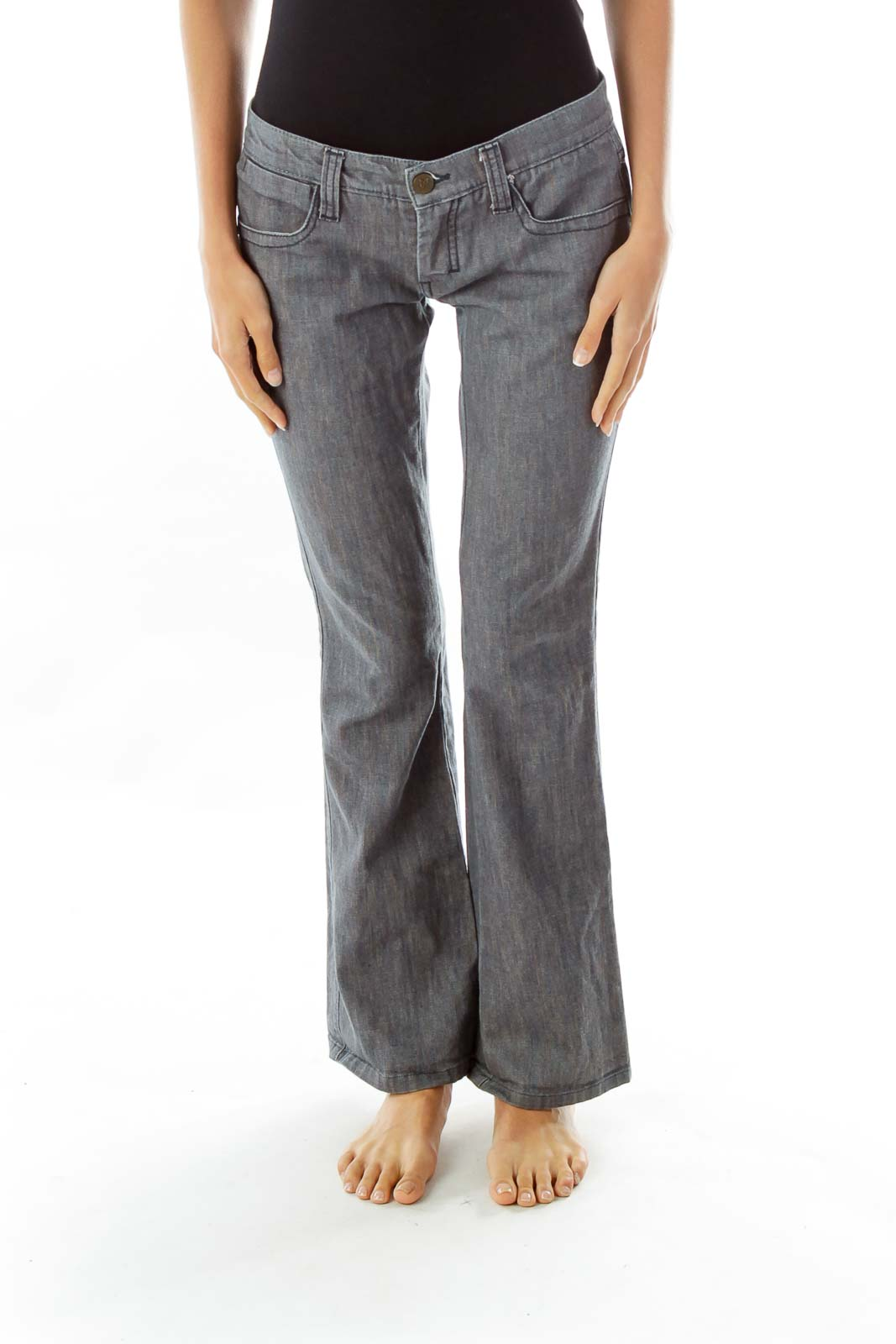 Blue Gray Flared Jeans Front
