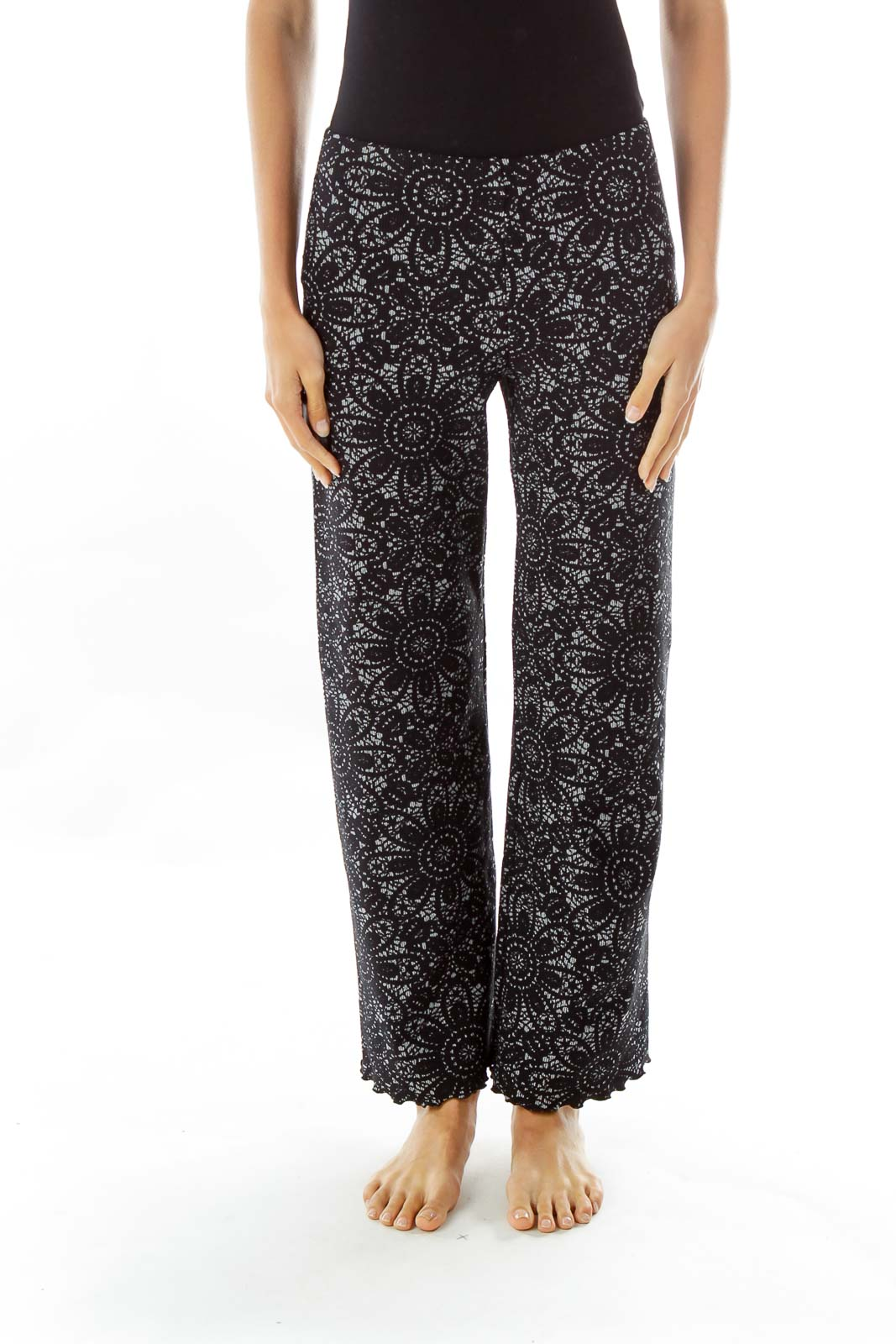 Black Gray Flower Print Textured Stretch Pants Front