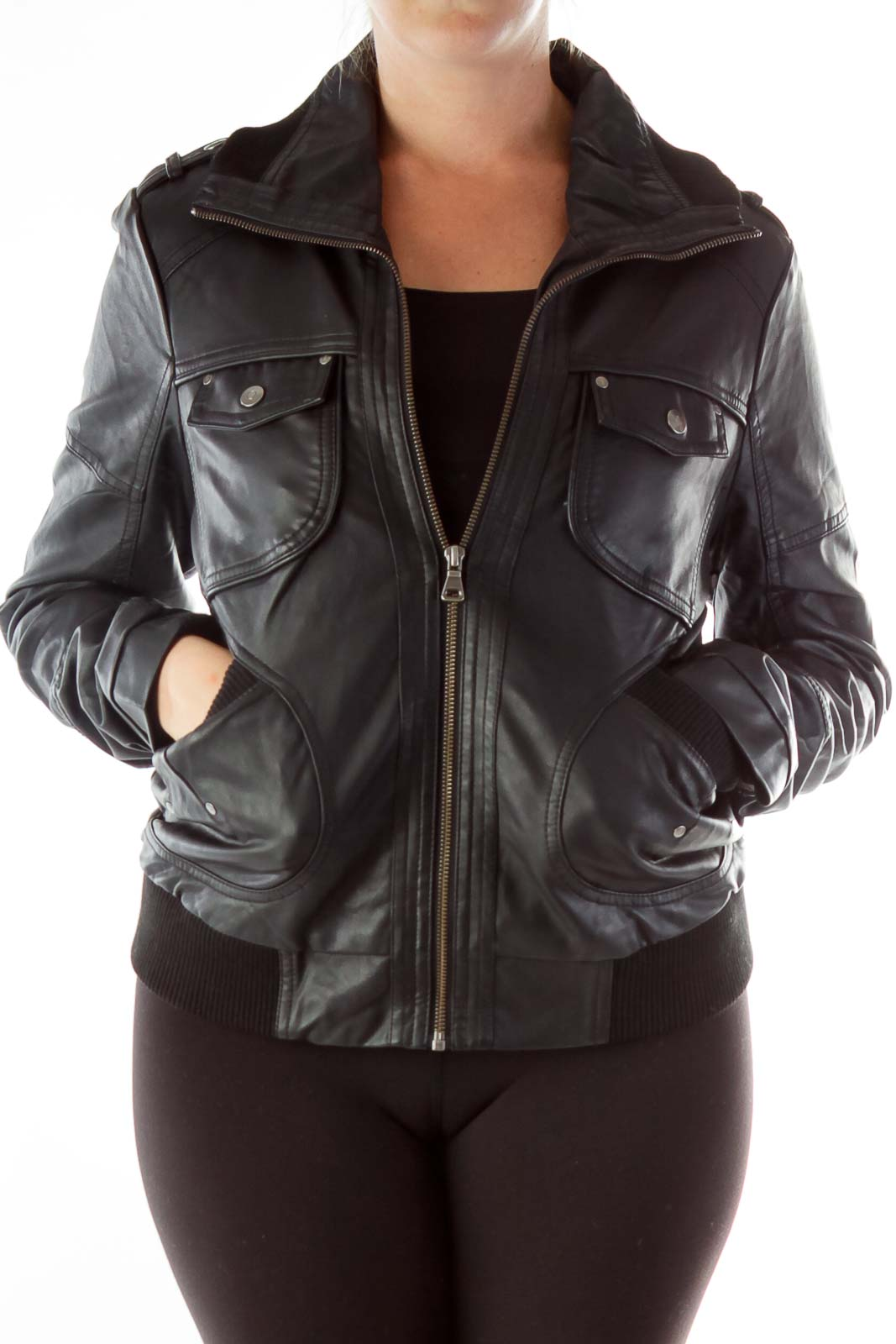 Black Faux Leather Bomber Jacket Front
