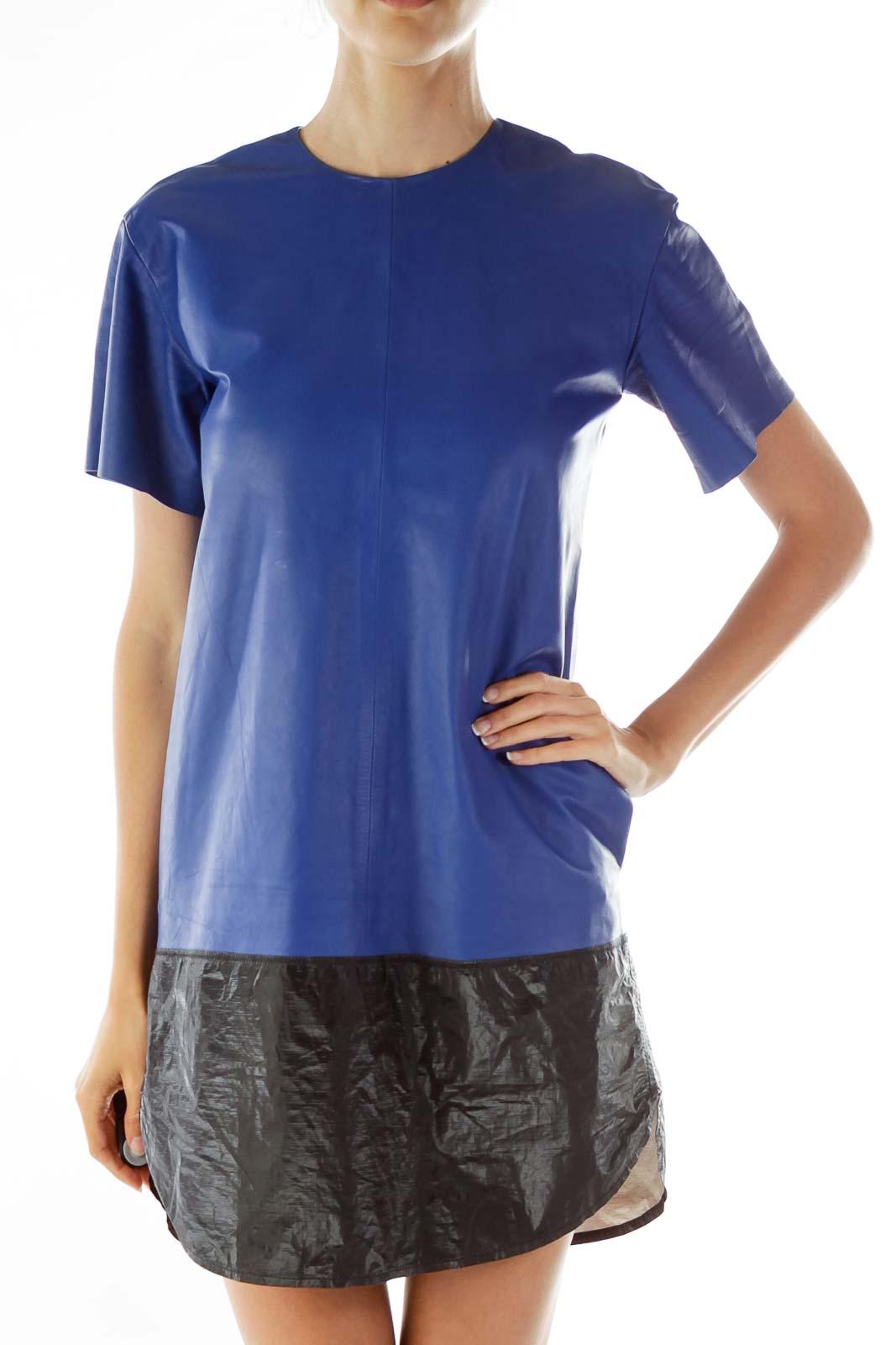 Royal Blue Lambskin Color Block Dress Front