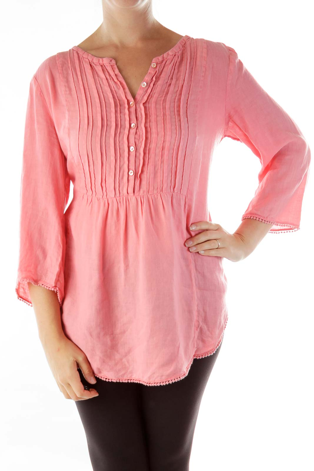 Pink Linen Tunic Front