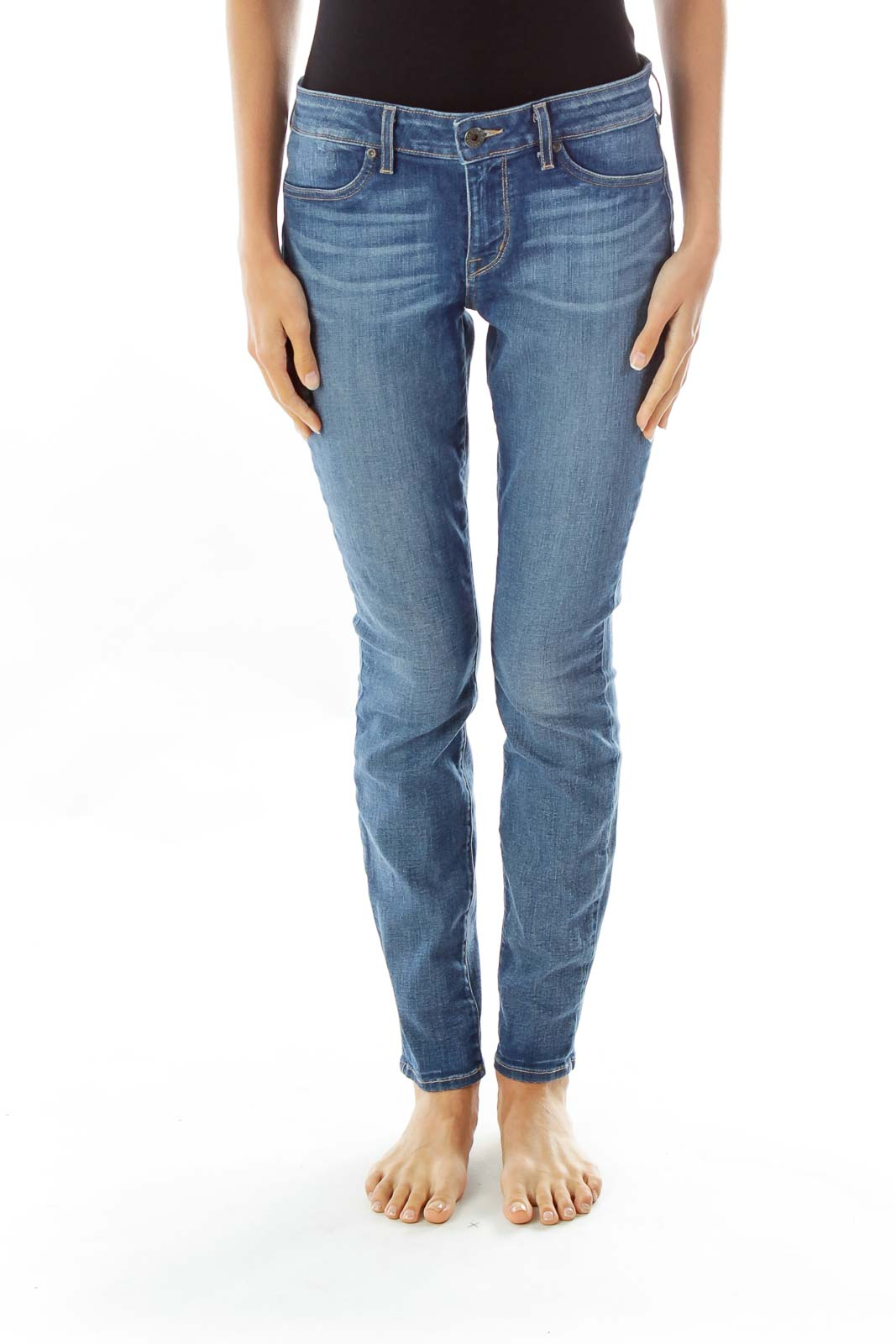 Blue Faded Skinny Jeans Front