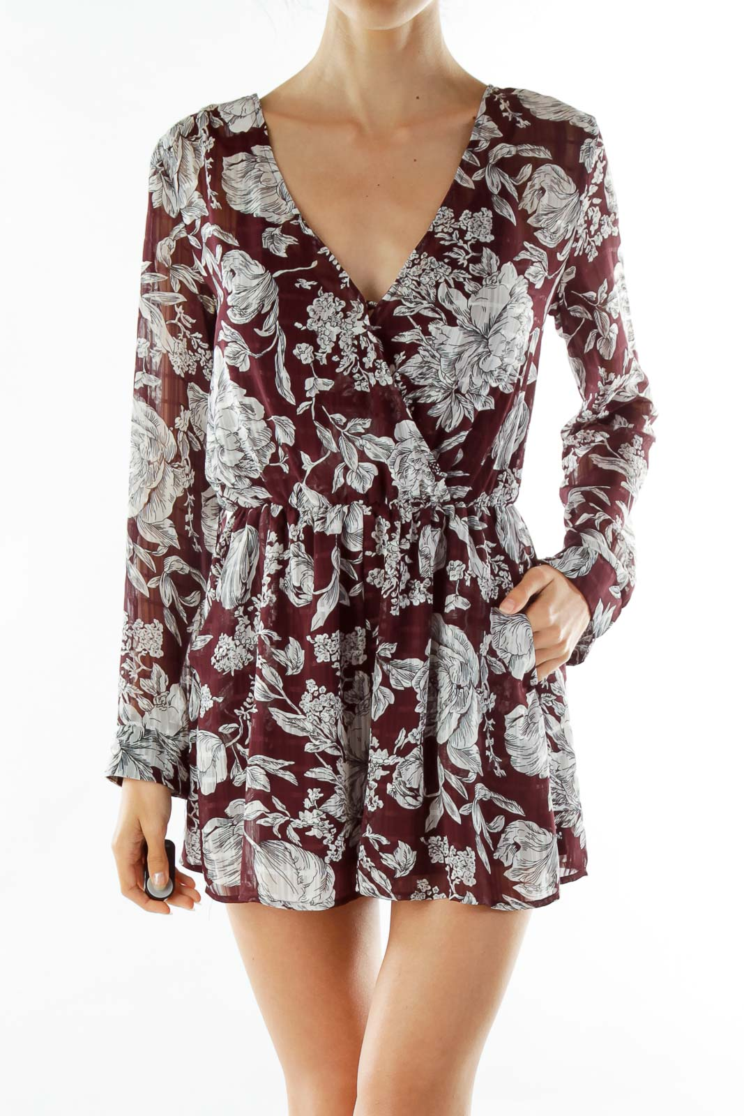 Purple White Floral Romper Front