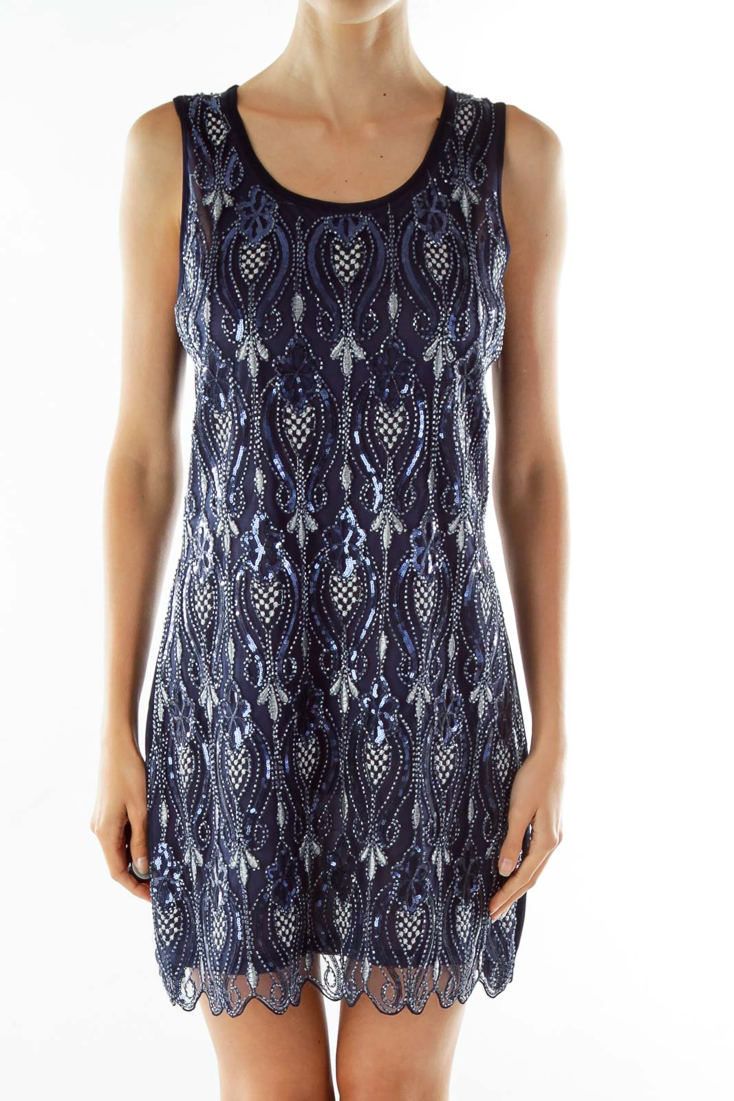 Navy Silver Beaded Cocktail Dress Front