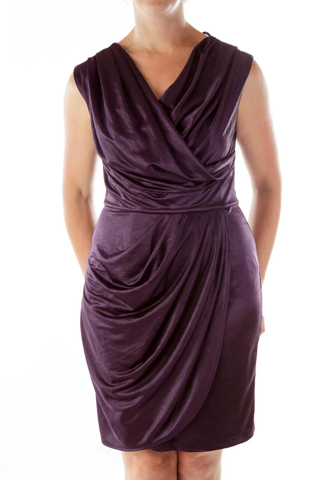 Purple Satin Crepe Dress Front