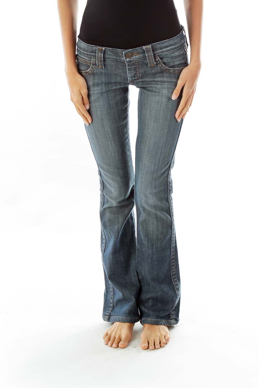 Navy Flared Jeans w/ Heart Pockets Front