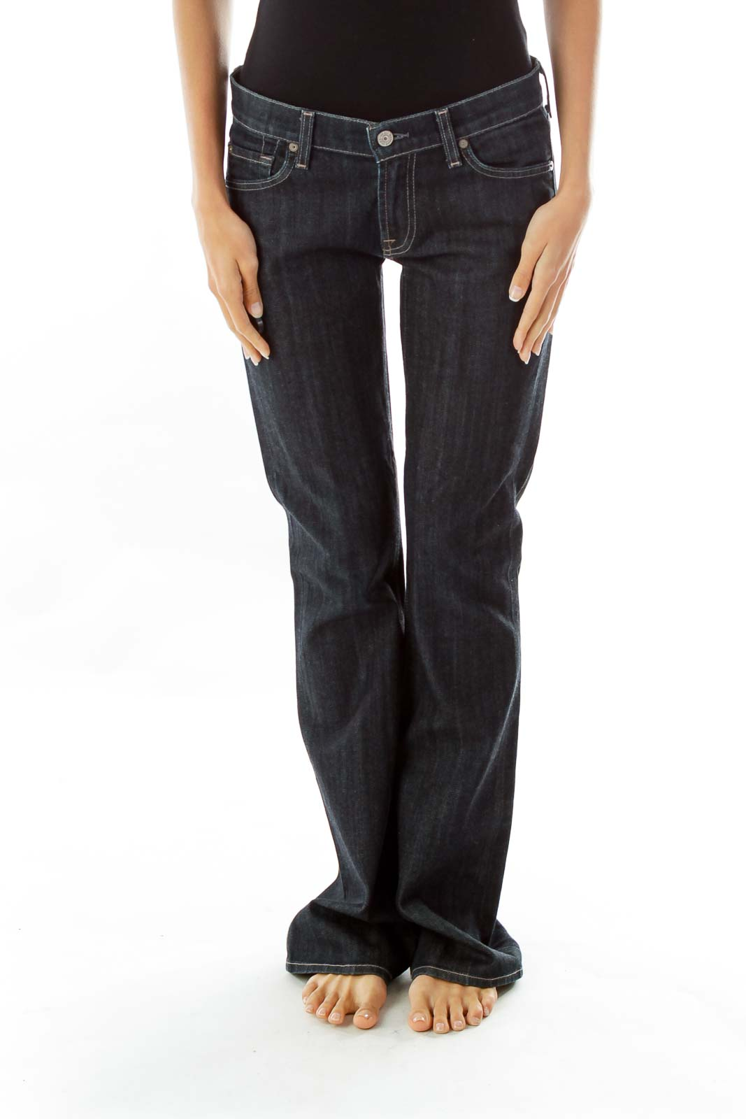 Navy Flared Jeans w/ Shimmery Pockets Front