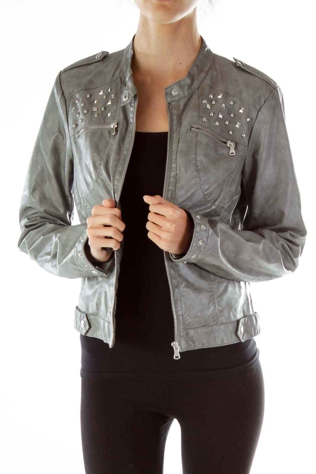 Gray Studded Faux-Leather Jacket Front