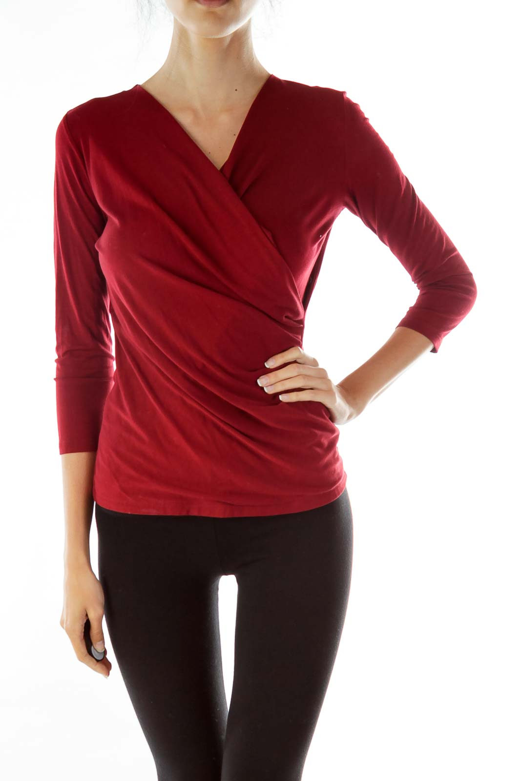 Red Scrunched Blouse Front