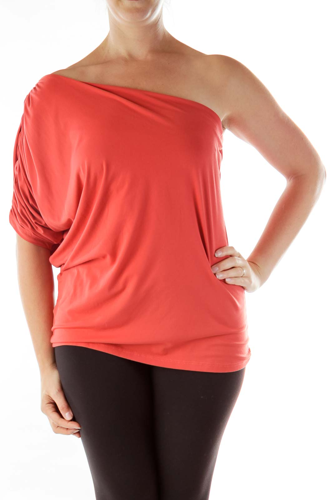 Red Scrunched One-Shoulder Top Front