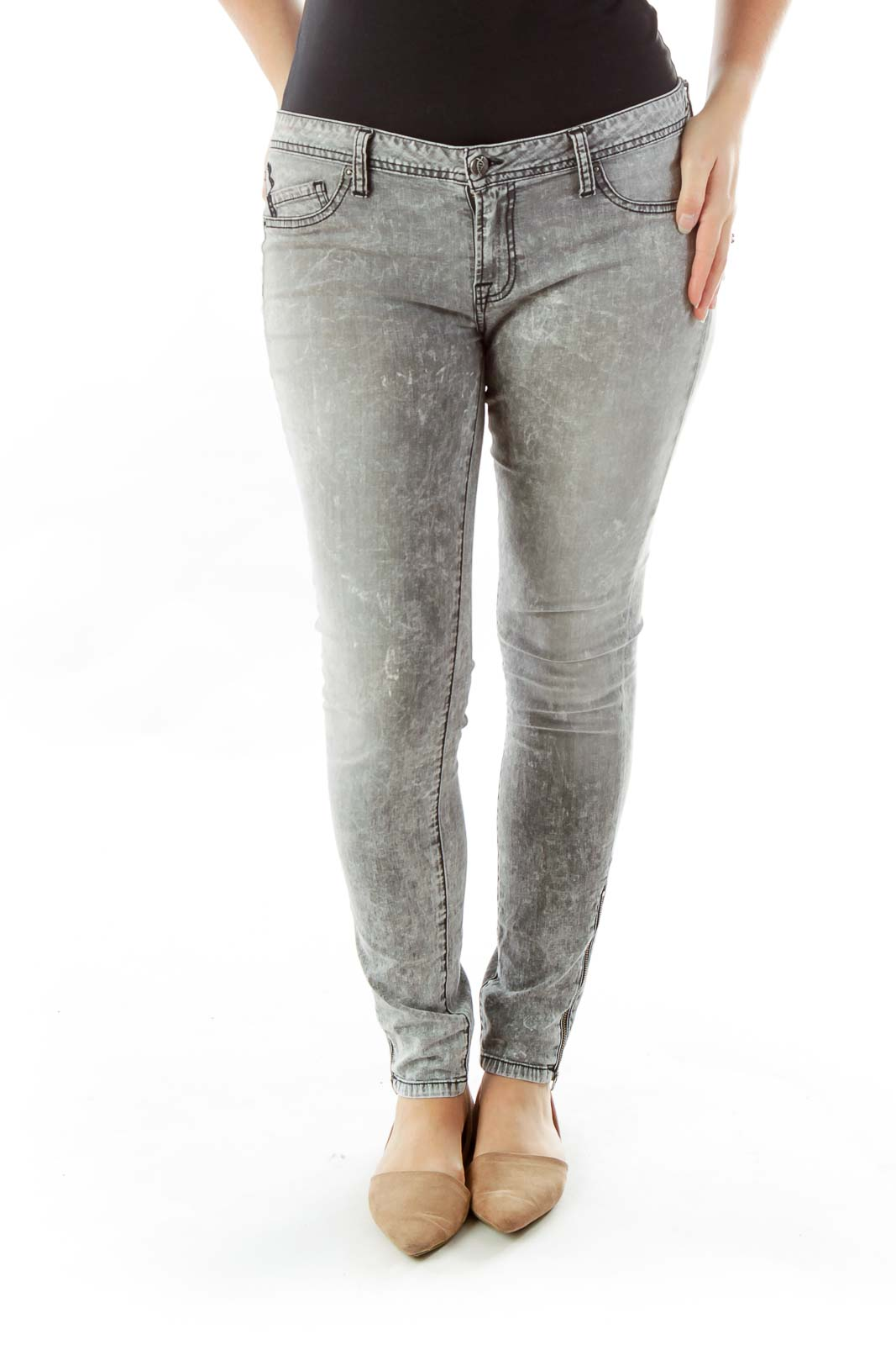 Gray Zippered Skinny Jeans Front