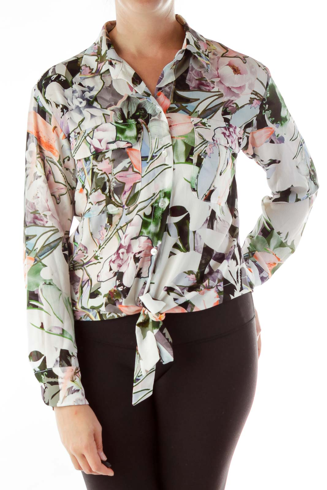 Beige Floral Print Buttoned Blouse Front