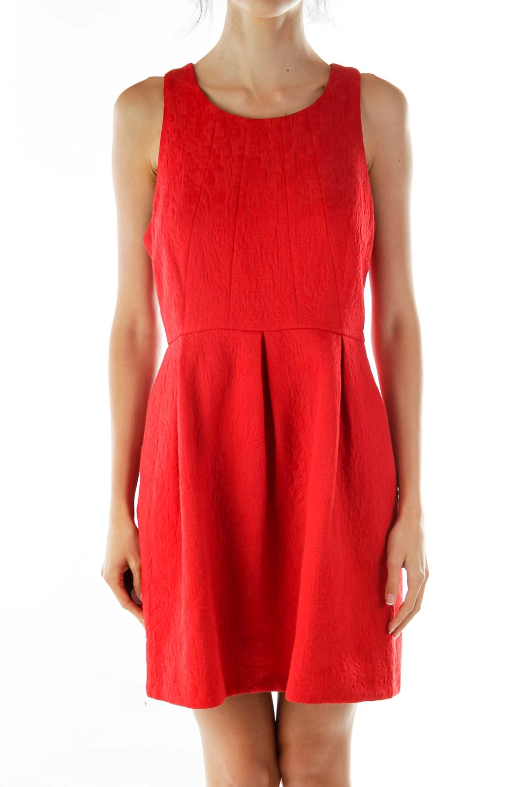 Red Sleeveless Textured Cocktail Dress Front