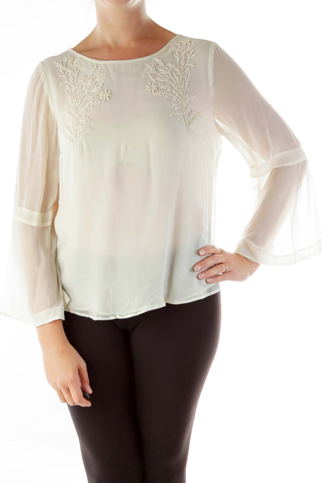 Cream Embroidered Blouse Front