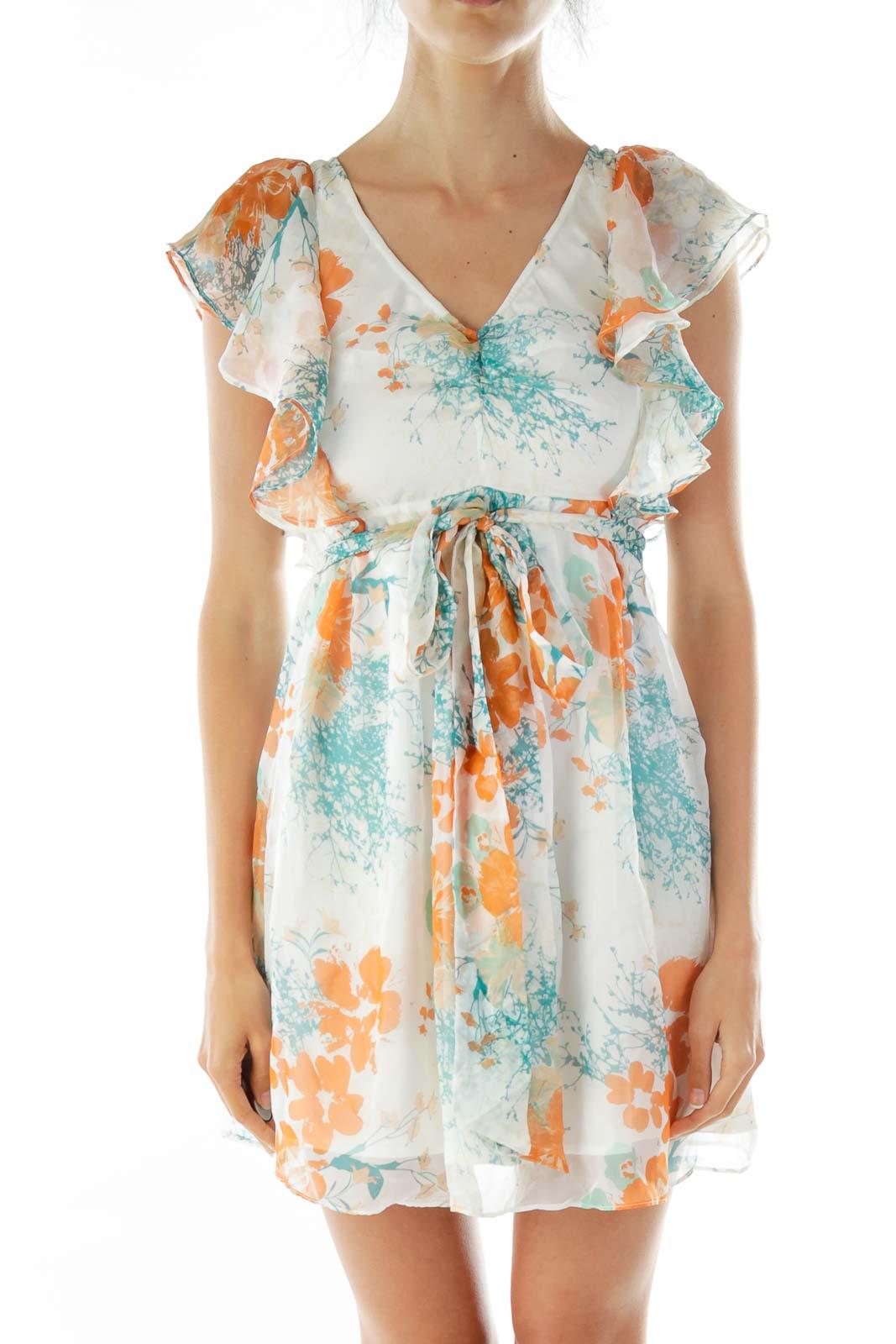 Cream Floral Print Blouse Front