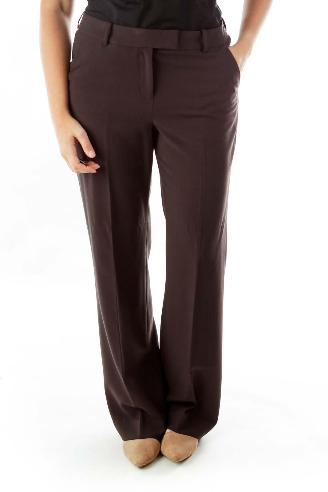 Brown Straight-Leg Slacks Front