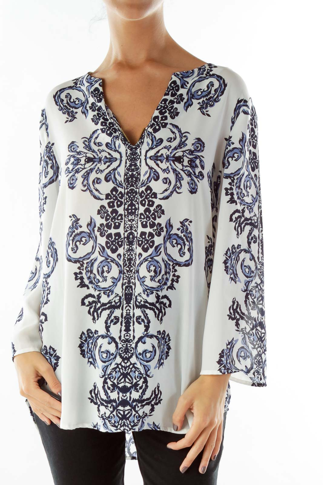 Blue White Print Tunic Front